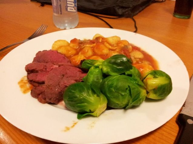 Roast Kangaroo, Brussel Sprouts and Gnocchi