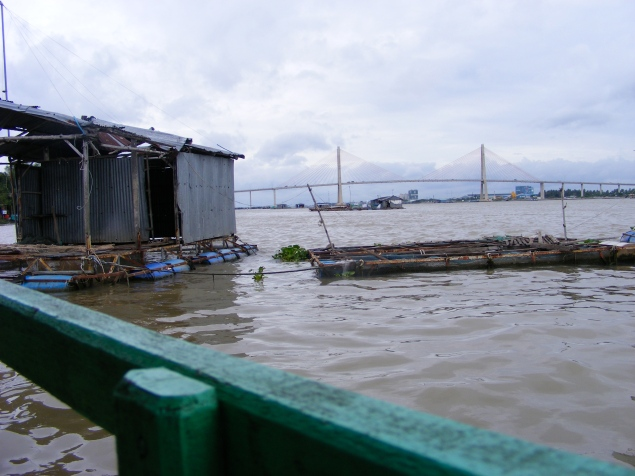 A fish farm in the middle of the Mekong River