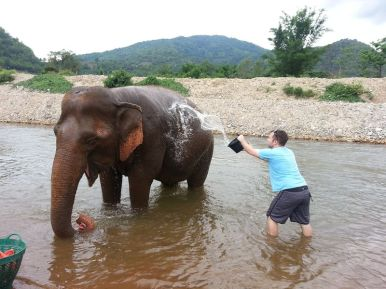 Craig washes our new friend