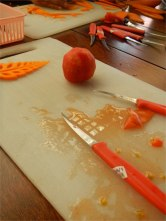 Board, Knife and remnants of the tomato I carved