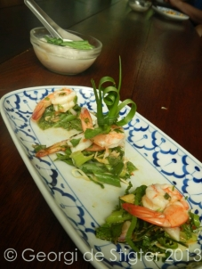 Prawn salad prior to the mouth burning incident.