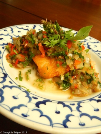 Deep fried white fish with Chili and Basil topping